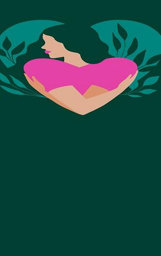 Heart shaped illustration of a woman hugging herself against a dark green background